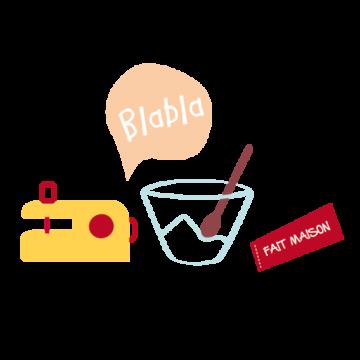 pictogramme ou icône représentant une machine à coudre, un saladier et une étiquette portant la mention fait maison