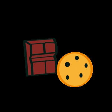 pictogramme ou icône représentant un biscuit et un carré de chocolat