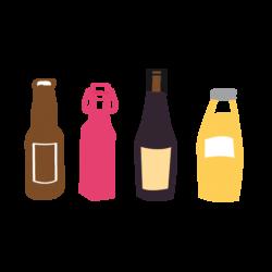 pictogramme ou icône représentant des bouteilles de vin, de cidre et de jus de fruits