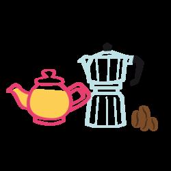 pictogramme ou icône représentant une théière remplie de thé et une cafetière
