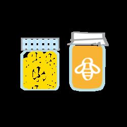 Pictogramme ou icone représentant un pot de miel et un pot de confiture