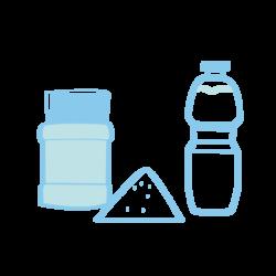 pictogramme ou icône représentant des articles de droguerie comme un blaireau pour barbe