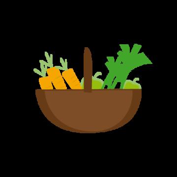pictogramme ou icône représentant un panier rempli de légumes dont un poireau et des carottes