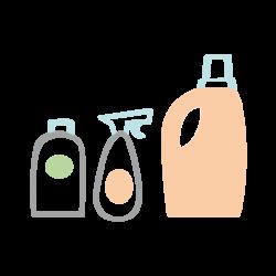 pictogramme ou icône représentant des bouteilles de produits ménagers