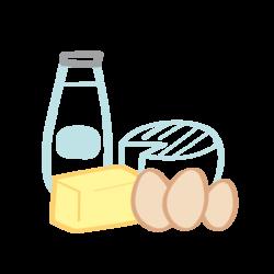 pictogramme représentant une bouteille de lait, du beurre frais, du fromage ainsi que des oeufs biologiques, l'Effet Bocal, épicerie Zéro déchet Poitiers