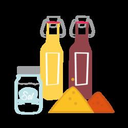pictogramme représentant des épices, du sel ainsi qu'une bouteille d'huile et une bouteille de vinaigre, l'effet bocal, épicerie Poitiers